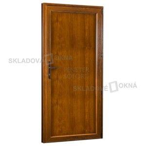 Vedlejší vchodové dveře PREMIUM, plné, pravé, 980 x 2080 mm, barva bílá/zlatý dub