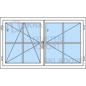 Dvoukřídlé plastové okno se štulpem PREMIUM 1620 x 960 mm - DOPRODEJ