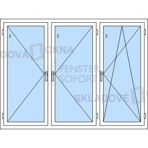 Trojkřídlé plastové okno se sloupkem PREMIUM 2060 x 1540 mm - DOPRODEJ